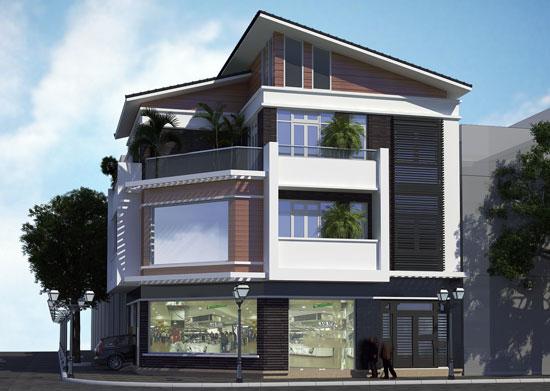 Phối cảnh kiến trúc - Thiết kế biệt thự lô góc 3 tầng 130m2 kết hợp kinh doanh