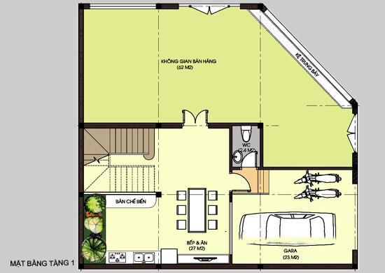 Mặt băng công năng tầng 1 - Thiết kế biệt thự lô góc 3 tầng 130m2 kết hợp kinh doanh