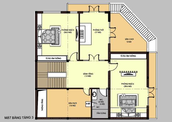 Mặt băng công năng tầng 3 - Thiết kế biệt thự lô góc 3 tầng 130m2 kết hợp kinh doanh