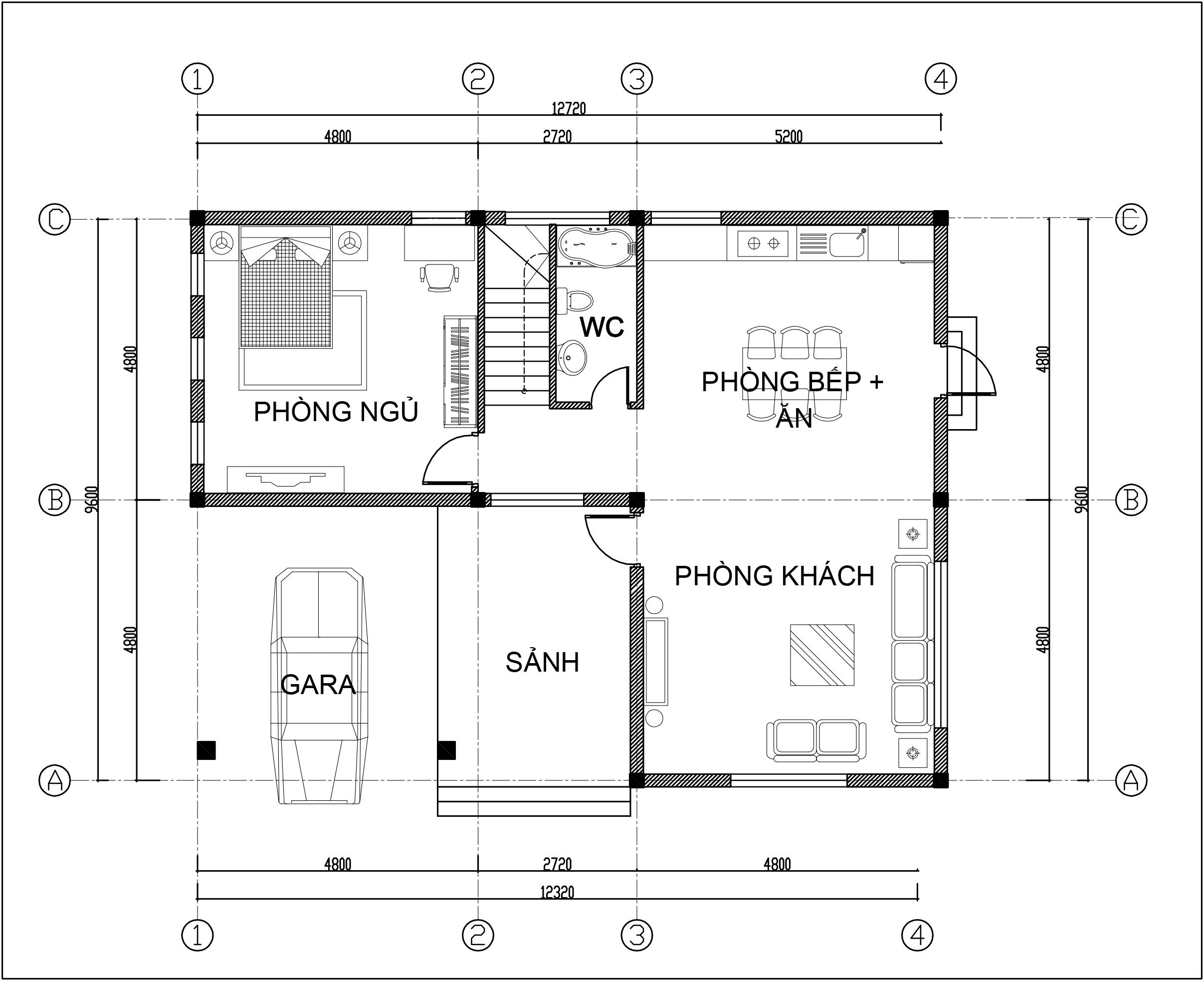 Mặt bằng tầng 1 - Biệt thự tân cổ điển 2 tầng 12,7x9,6m đẹp sang trọng