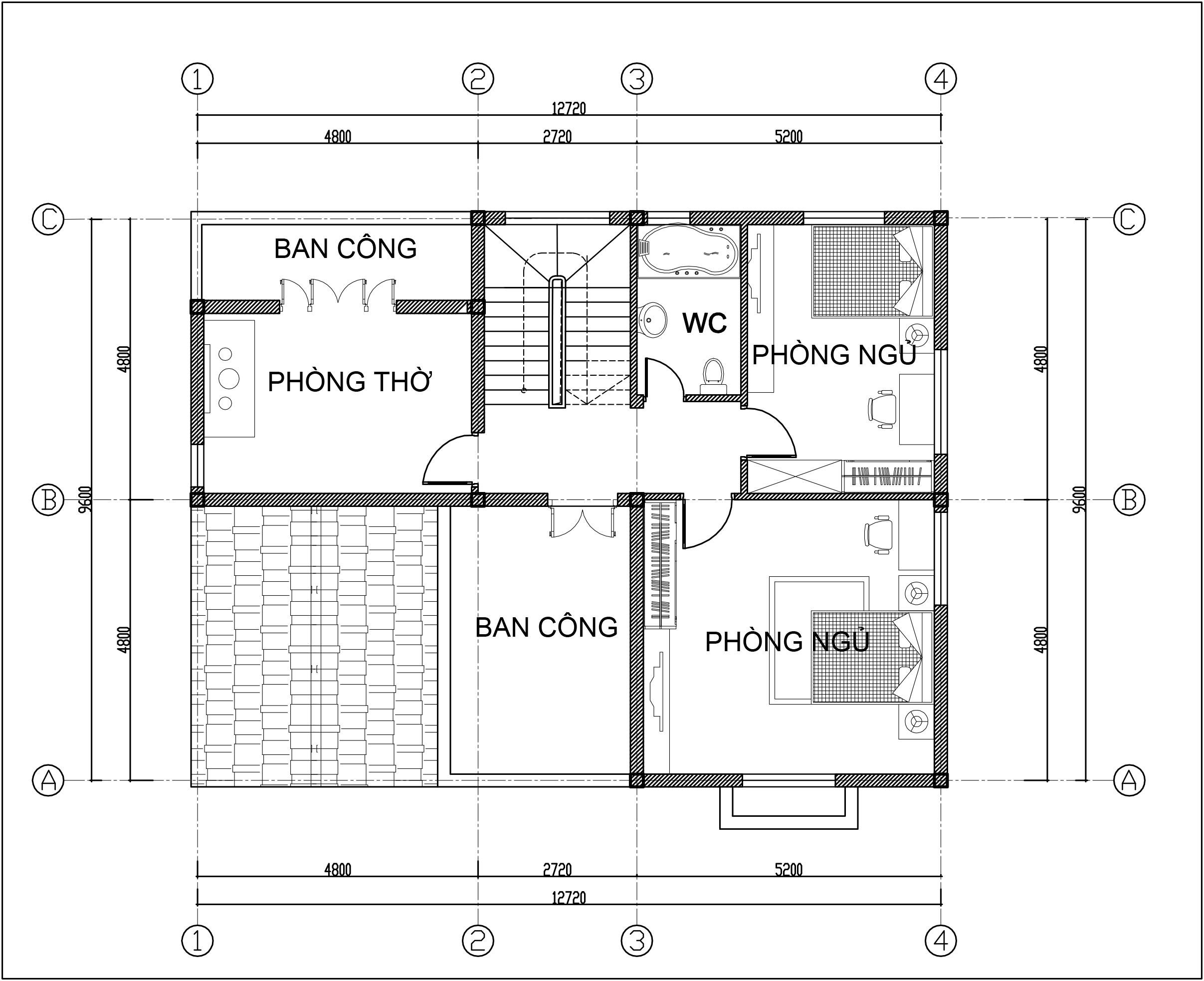 Mặt bằng tầng 2 - Biệt thự tân cổ điển 2 tầng 12,7x9,6m đẹp sang trọng