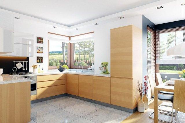 Không gian nội thất phòng bếp ăn - Mẫu nhà biệt thự vườn mini 2 tầng 10x15m tại vùng quê