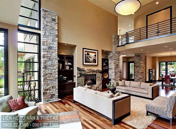 Không gian sân vườn biệt thự 2 tầng hiện đại đẹp hấp dẫn - Không gian nội thất phòng khách