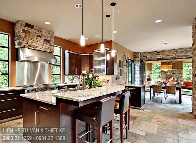 Không gian sân vườn biệt thự 2 tầng hiện đại đẹp hấp dẫn - Không gian nội thất phòng bếp ăn