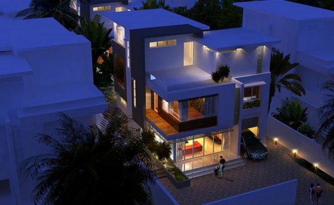 Phối cảnh kiến trúc ban đêm - Mẫu biệt thự hiện đại 3 tầng 9x13m