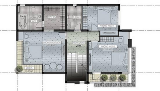 Mặt bằng tầng 2 - Mẫu biệt thự hiện đại 3 tầng 9x13m