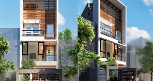 Hình ảnh phối cảnh kiến trúc - Mẫu nhà phố 4 tầng 5,2x18m có giếng trời và sân trước sau