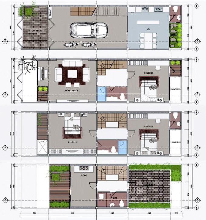 Bản vẽ mặt bằng tầng 1+2+3+4 - Mẫu nhà phố 4 tầng 5,2x18m có giếng trời và sân trước sau