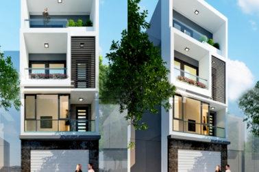 Phối cảnh mặt tiền - Mẫu nhà phố 4 tầng 5x17m có gara hiện đại