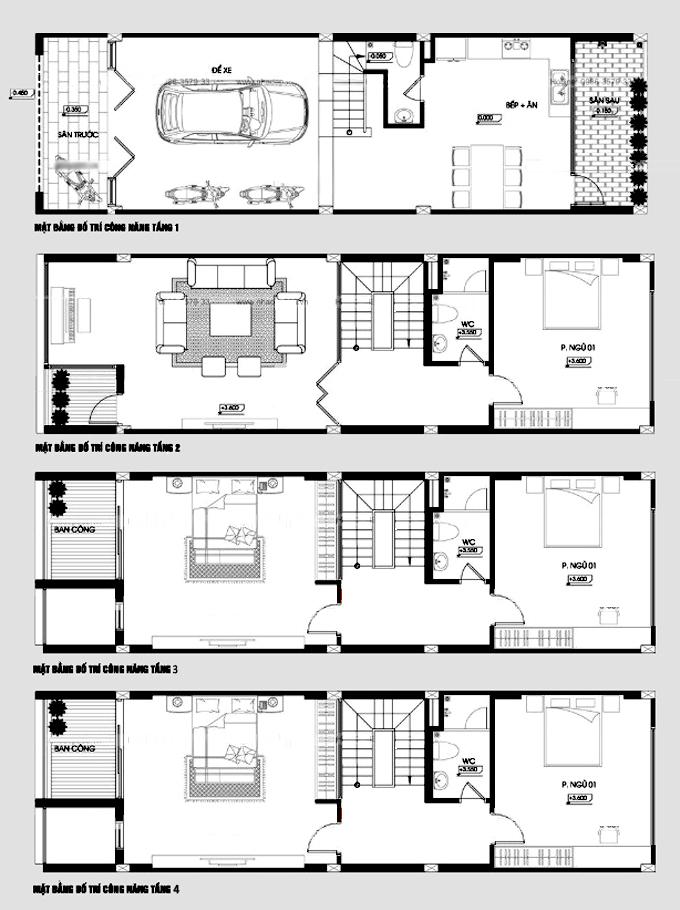 Bản vẽ măt bằng công năng - Mẫu nhà phố 4 tầng 5x17m có gara hiện đại