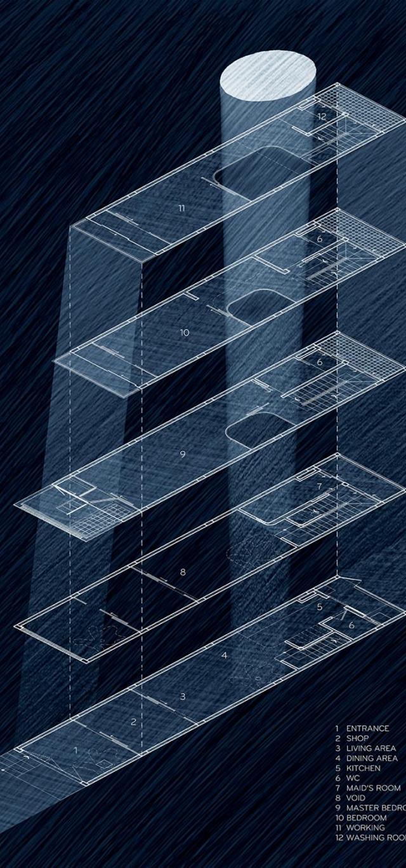 Bản vẽ mặt bằng - Nhà phố 4 tầng 3,5x12m thoáng mát với thiết kế thông minh