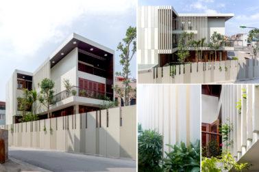 Các góc kiến trúc bên ngoài - Nhà phố lô góc 3 tầng 1 hầm mặt bằng chữ L hiện đại