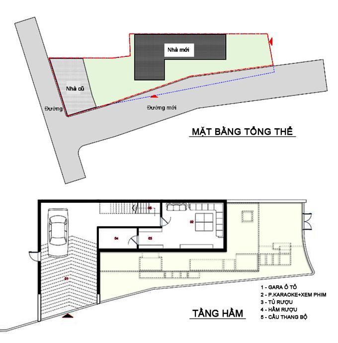 Mặt bằng tổng thể+tầng hầm - Nhà phố lô góc 3 tầng 1 hầm mặt bằng chữ L hiện đại