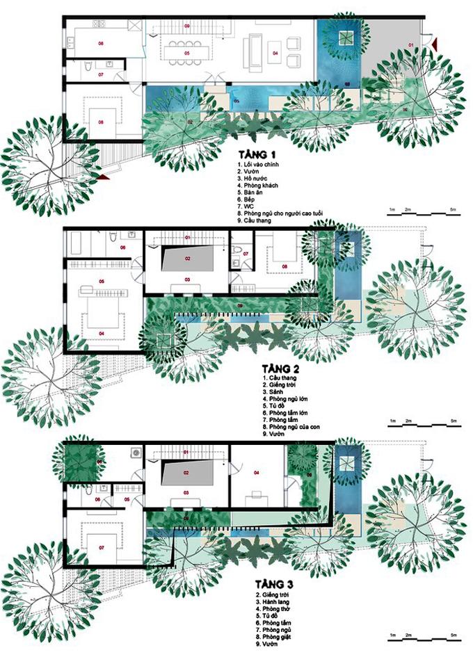 Mặt bằng tầng 1+2+3 - Nhà phố lô góc 3 tầng 1 hầm mặt bằng chữ L hiện đại