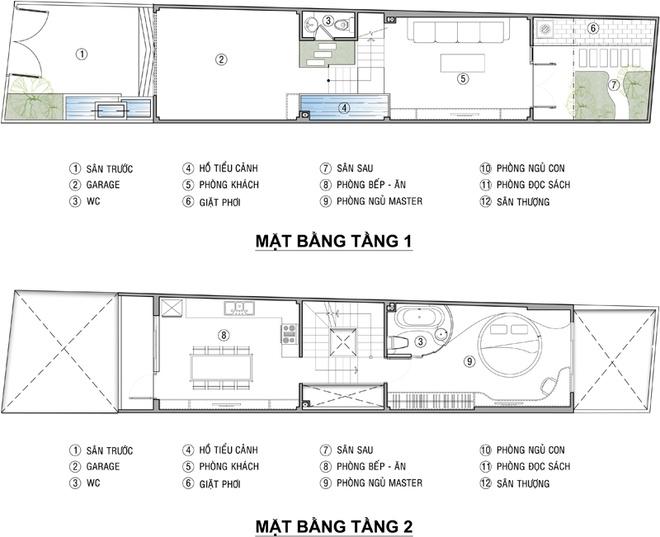 Mặt bằng tầng 1+2 - Nhà phố tân cổ điển 3 tầng 3,5x15m sang trọng