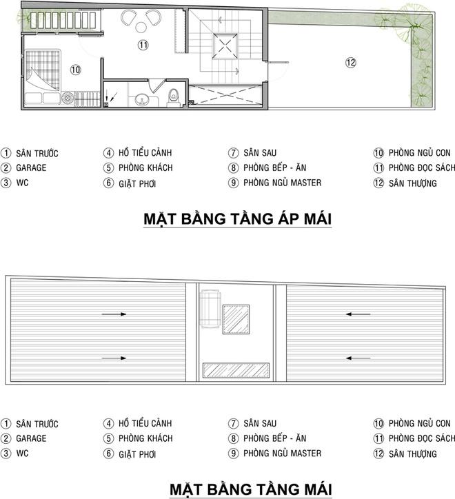 Mặt bằng tầng 3+Mái - Nhà phố tân cổ điển 3 tầng 3,5x15m sang trọng