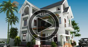 Phim 3D - Biệt thự nhà vườn 3 tầng 7,8x10,4m tại Thanh Trì-0