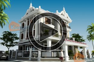 Phim 3D mẫu biệt thự cổ điển 3 tầng 14x16,5m tại Hà Đông