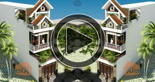 Phim 3D mẫu nhà phố lệch tầng cao 3 tầng 4,1x24m