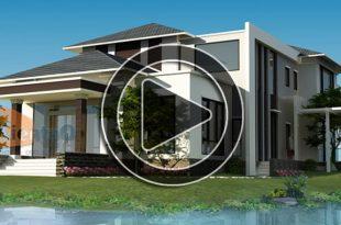 Phim 3D thiết kế nhà biệt thự 2 tầng 14x22m tại Tiền Hải, Thái Bình