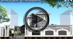Phim 3D thiết kế sân vườn biệt thự 2 tầng tại Hà Nội