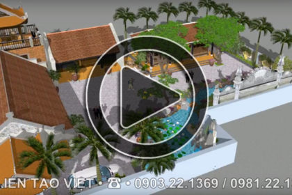 Phim 3D thiết kế sân vườn nhà thờ họ cổ điển tại Hà Nam