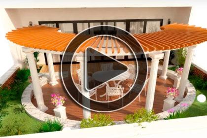 Phim 3D tiểu cảnh sân thượng nhà phố hiện đại