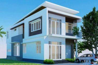 Phối cảnh kiến trúc - Thiết kế nhà phố 2 tầng 8x22m kiểu dáng hiện đại
