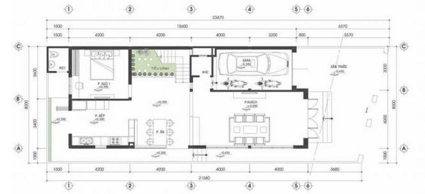 Mặt bằng tầng 1 - Thiết kế nhà phố 2 tầng 8x22m kiểu dáng hiện đại