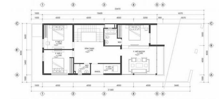 Mặt bằng tầng 2 - Thiết kế nhà phố 2 tầng 8x22m kiểu dáng hiện đại
