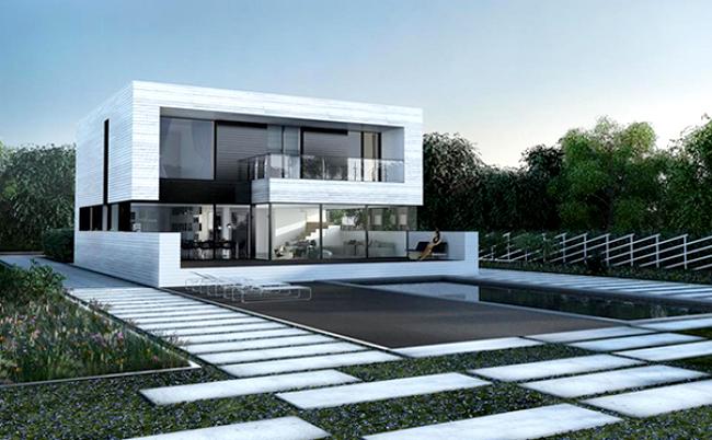 Ngắm nhìn mẫu biệt thự 2 tầng hiện đại kiểu hình khối độc đáo tại Mỹ - Phối cảnh kiến trúc 01