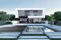Ngắm nhìn mẫu biệt thự 2 tầng hiện đại kiểu hình khối độc đáo tại Mỹ - Phối cảnh kiến trúc 02