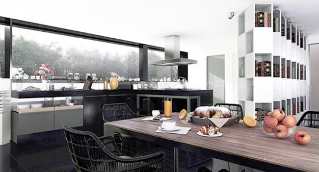 Ngắm nhìn mẫu biệt thự 2 tầng hiện đại kiểu hình khối độc đáo tại Mỹ - Phối cảnh nội thất 01