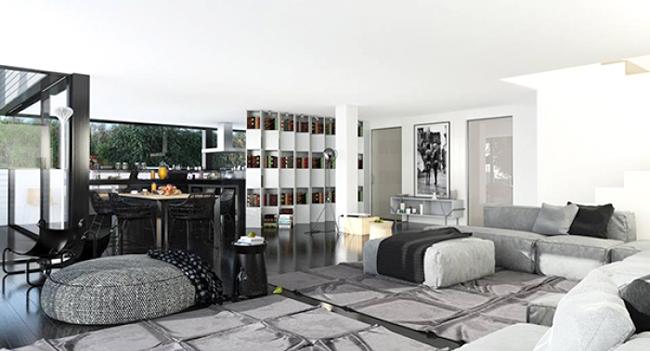 Ngắm nhìn mẫu biệt thự 2 tầng hiện đại kiểu hình khối độc đáo tại Mỹ - Phối cảnh nội thất 02