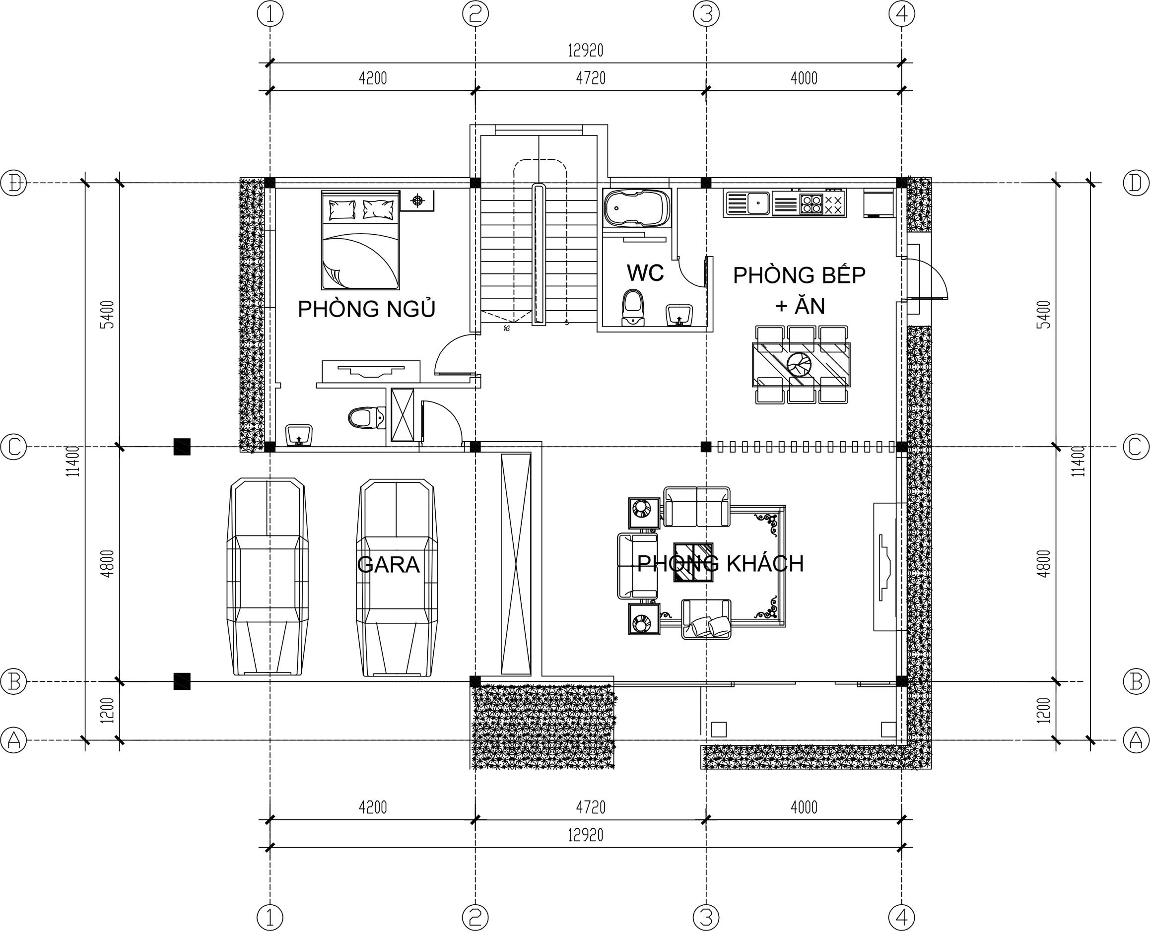 Công năng tầng 1 - Biệt thự đẹp 2 tầng 13x11,5m tân cổ điển