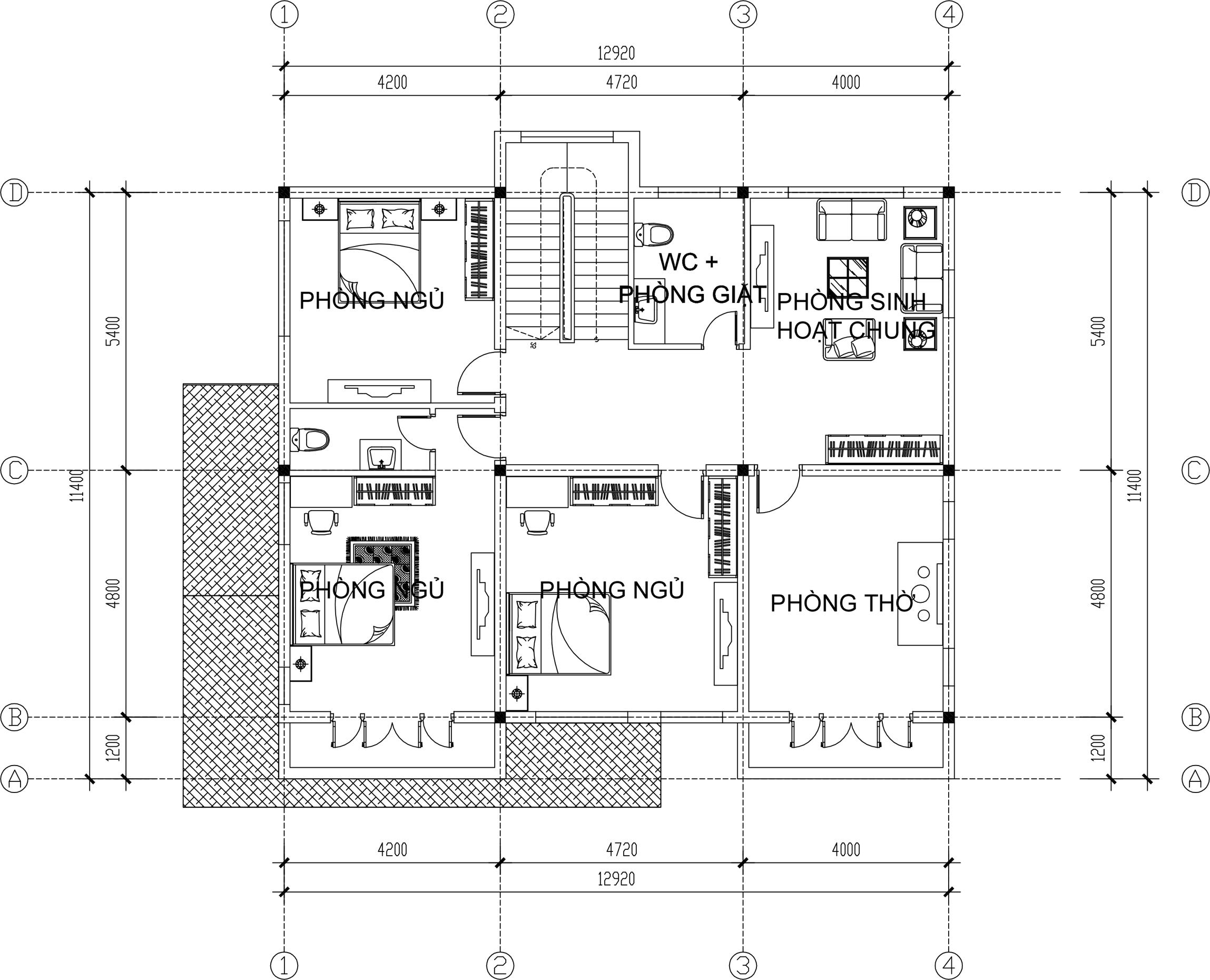 Công năng tầng 2 - Biệt thự đẹp 2 tầng 13x11,5m tân cổ điển