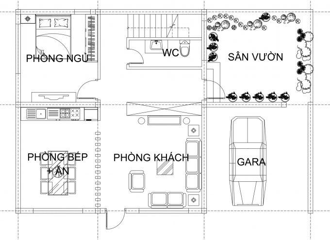 Mặt bằng công năng tầng 1 - Biệt thự phố 2 tầng tân cổ điển 15x11m