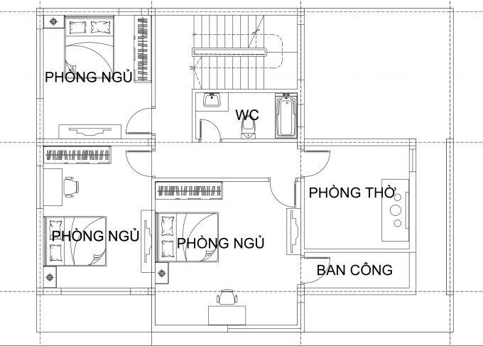 Mặt bằng công năng tầng 2 - Biệt thự phố 2 tầng tân cổ điển 15x11m
