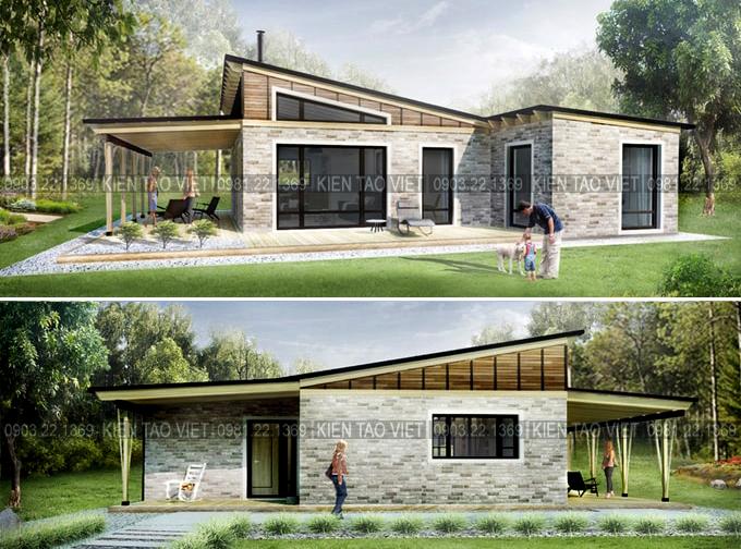 Trang trí ngoại thất phương án 01 - Biệt thự vườn mini 1 tầng 11×10,5m hiện đại