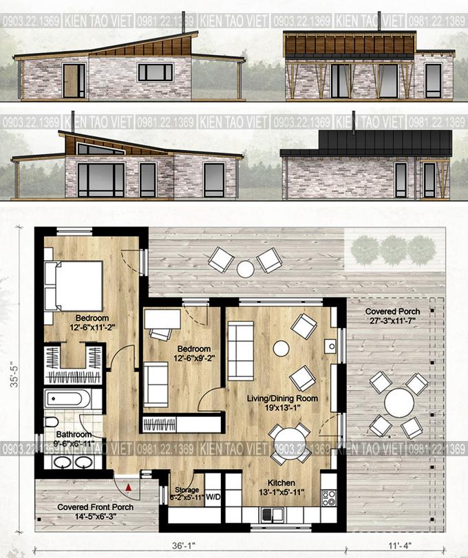Mặt bằng & Mặt đứng - Biệt thự vườn mini 1 tầng 11×10,5m hiện đại
