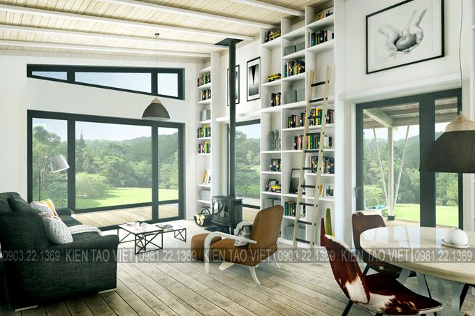Không gian nội thất 01 - Biệt thự vườn mini 1 tầng 11×10,5m hiện đại