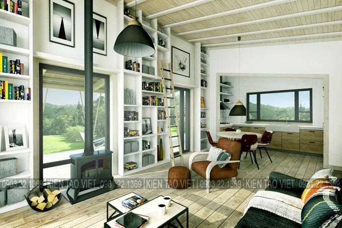Không gian nội thất 02 - Biệt thự vườn mini 1 tầng 11×10,5m hiện đại