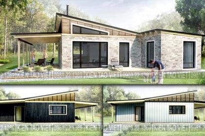 Ngắm nhìn 3 phương án trang trí ngoại thất mẫu biệt thự vườn mini 1 tầng 11×10,5m hiện đại