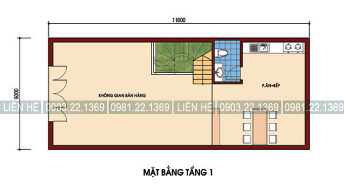 Tham khảo cách chia công năng nhà phố kết hợp kinh doanh 4 tầng 6x11m - Mặt bằng tầng 1