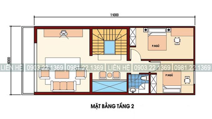 Tham khảo cách chia công năng nhà phố kết hợp kinh doanh 4 tầng 6x11m - Mặt bằng tầng 2