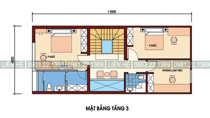 Tham khảo cách chia công năng nhà phố kết hợp kinh doanh 4 tầng 6x11m - Mặt bằng tầng 3