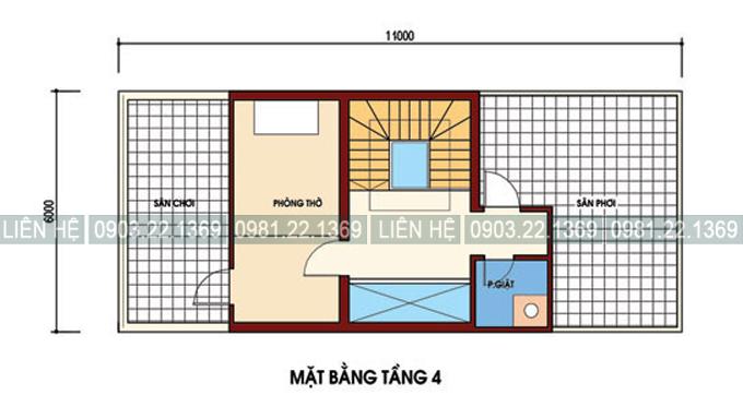 Tham khảo cách chia công năng nhà phố kết hợp kinh doanh 4 tầng 6x11m - Mặt bằng tầng 4