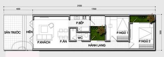 Ngắm nhìn không gian nhà ống 1 tầng 2 phòng ngủ 5x21m hiện đại cực đẹp - Mặt bằng công năng
