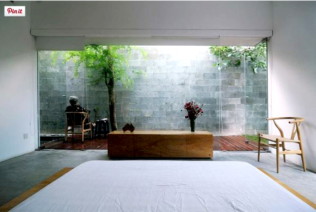 Ngắm nhìn không gian nhà ống 1 tầng 2 phòng ngủ 5x21m hiện đại cực đẹp - Không gian tiểu cảnh từ phòng bếp