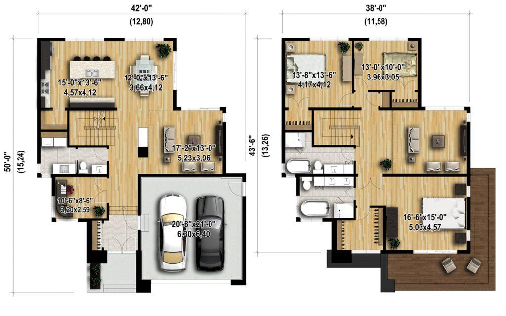 Bản vẽ bố trí nội thất - Mẫu biệt thự 2 tầng 12,8x15m đẹp hiện đại